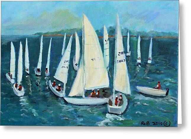Greeting Card featuring the painting Falmouth Regatta by Rita Brown