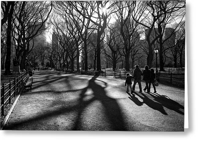 Family At Central Park In New York City Greeting Card
