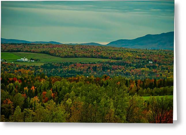 Family Farm In A Fall Foliage Landscape - Vintage Photography Greeting Card by Chantal PhotoPix