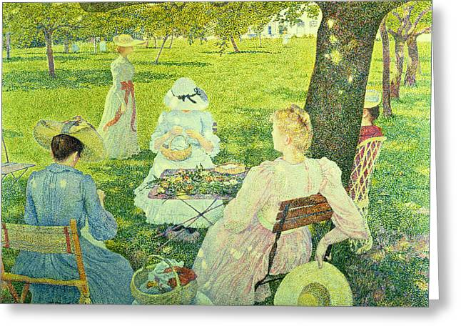 Family In The Orchard Greeting Card by Theo van Rysselberghe