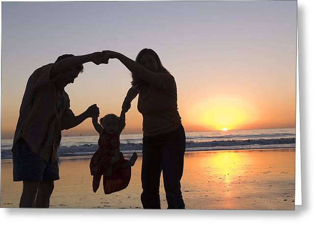 Family Portrait On The Beach At Sunset Greeting Card