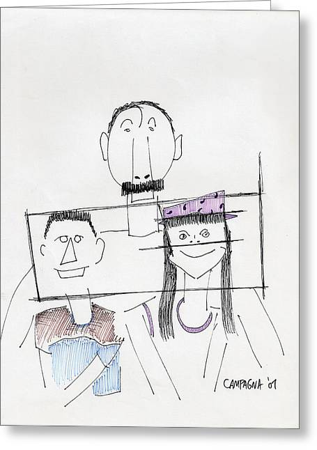 Greeting Card featuring the painting Family Portrait by Teddy Campagna