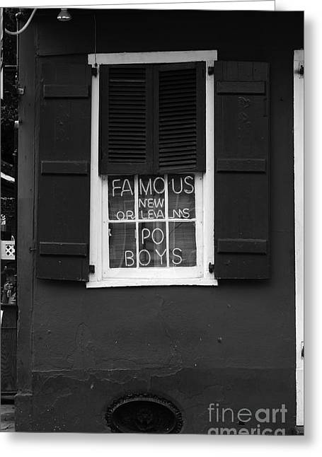 Famous New Orleans Po Boys Neon Window Sign Black And White Greeting Card
