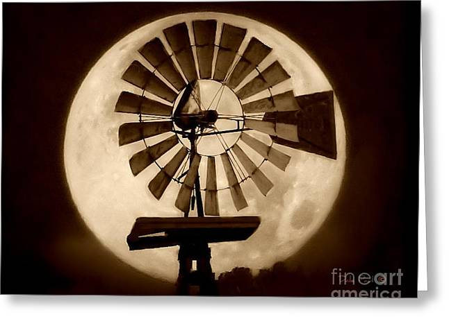 Fan In The Moon Greeting Card