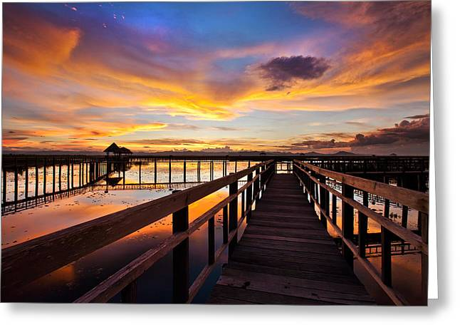 Fantastic Sky On Wood Bridge Greeting Card by Arthit Somsakul
