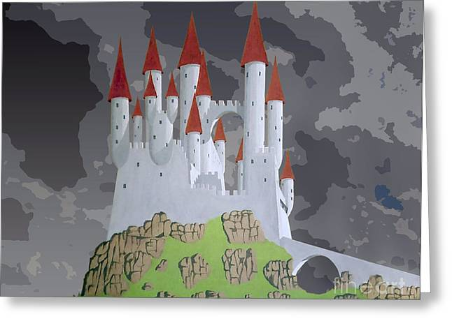 Fantasy Castle Greeting Card by Rod Jones