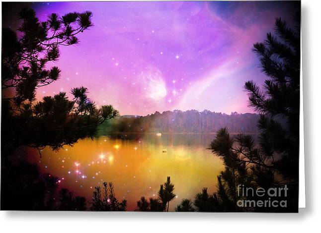 Fantasy Lake Greeting Card by Whispering Feather Gallery