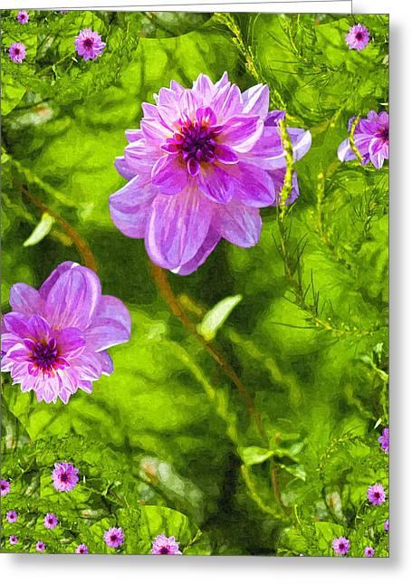 Fantasy Pink Dahlia Greeting Card by Design Windmill