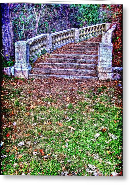 Fantasy Stairway Greeting Card by Olivier Le Queinec