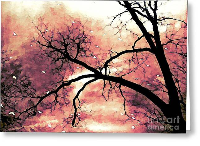 Fantasy Surreal Gothic Orange Black Tree Limbs  Greeting Card