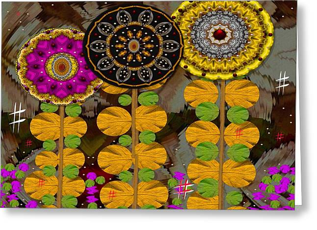 Fantasy Wood Flowers Greeting Card by Pepita Selles
