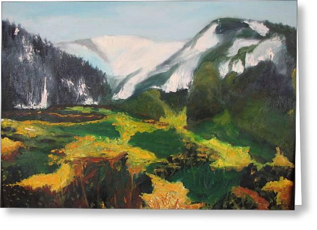 Far Away Mountains Greeting Card by Iris Nazario Dziadul