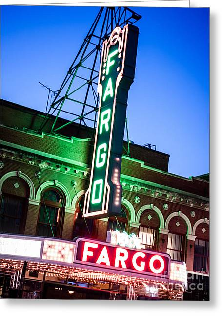 Fargo Nd Theatre Marquee At Night Photo Greeting Card