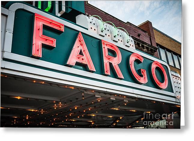 Fargo Theatre Sign In North Dakota Greeting Card by Paul Velgos