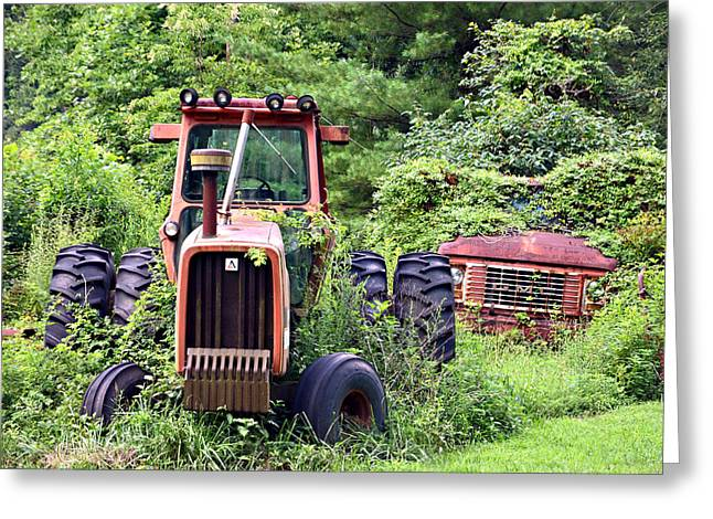 Farm Equipment Greeting Card by Susan Leggett