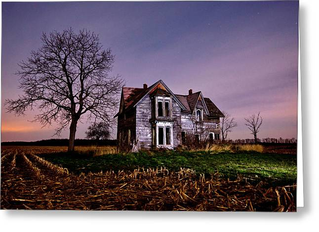 Farm House At Night Greeting Card by Cale Best