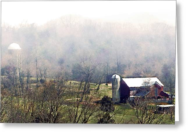 Farm In The Valley Greeting Card by Kathy Jennings