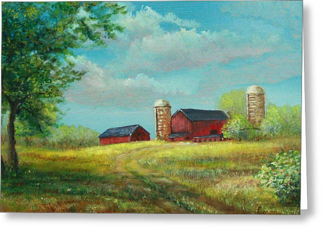 Greeting Card featuring the painting Red Barns by Luczay