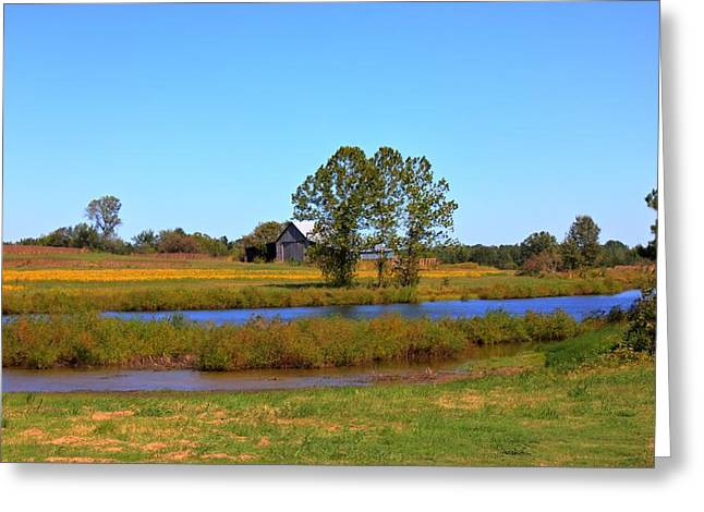 Farm Pond And Barn Greeting Card by Barry Jones