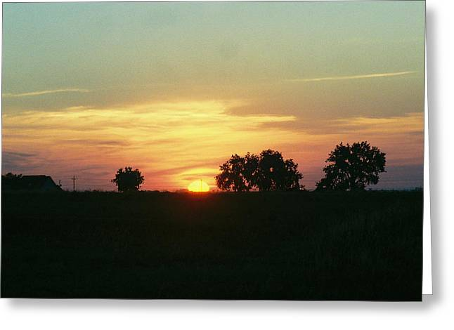 Farm Sunup Greeting Card by Trent Mallett