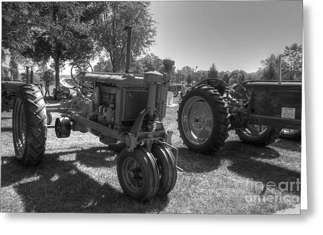 Farmall And Oliver In B-w Greeting Card by David Bearden