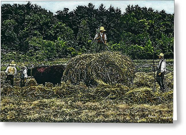 Farmers Haying Greeting Card by Robert Goudreau
