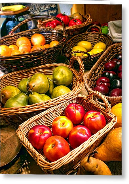Farmer's Market Fruit Stand With Wicker Baskets Greeting Card by Olivier Le Queinec