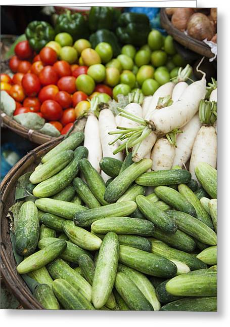 Asian Market Greeting Cards - Farmers Market Vegetables Cucumber; Greeting Card by Roberto Westbrook