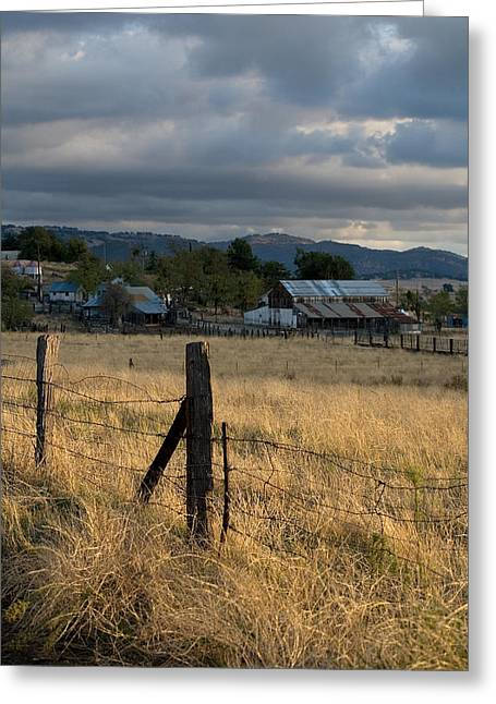Farmland Fence Post Greeting Card by Peter Tellone