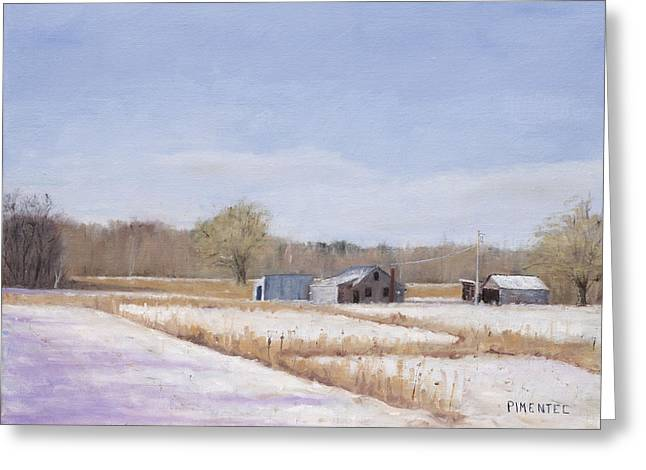 Farmland In Winter  Concord Massachusetts Greeting Card by Mark Pimentel