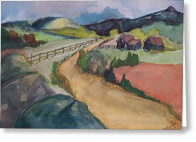 Farmland Road Greeting Card by Barbara McGeachen