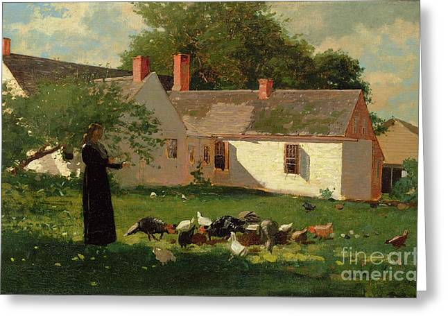 Farmyard Scene Greeting Card by Winslow Homer