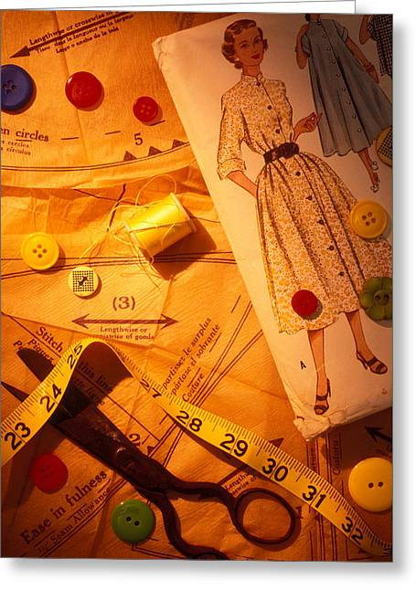 Fashion Old Dress Pattern Greeting Card by Garry Gay