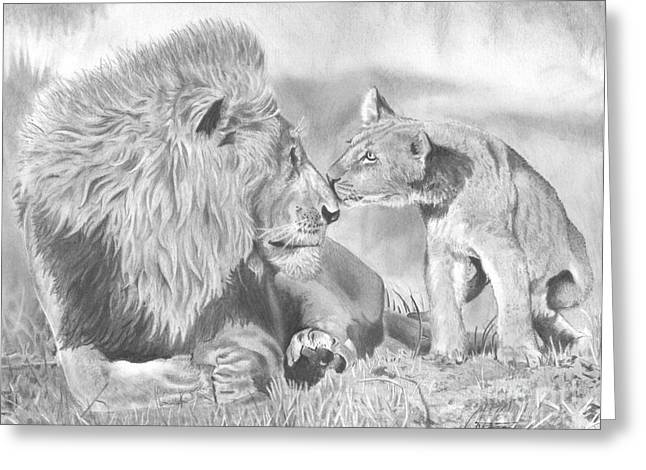 Father And Cub Greeting Card