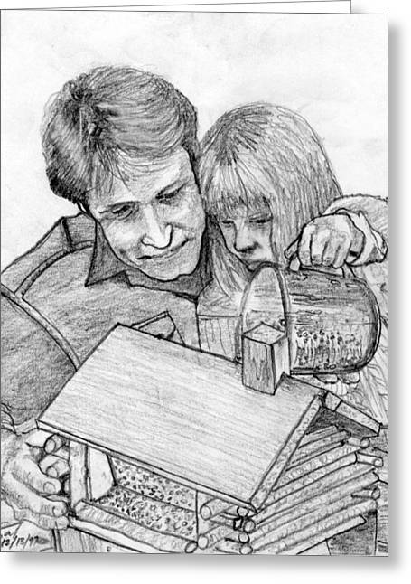 Father And Daughter Pencil Portrait Drawing by Romy Galicia