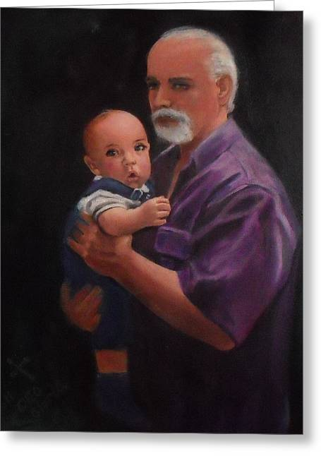 Father And Son Greeting Card by Charles Wells