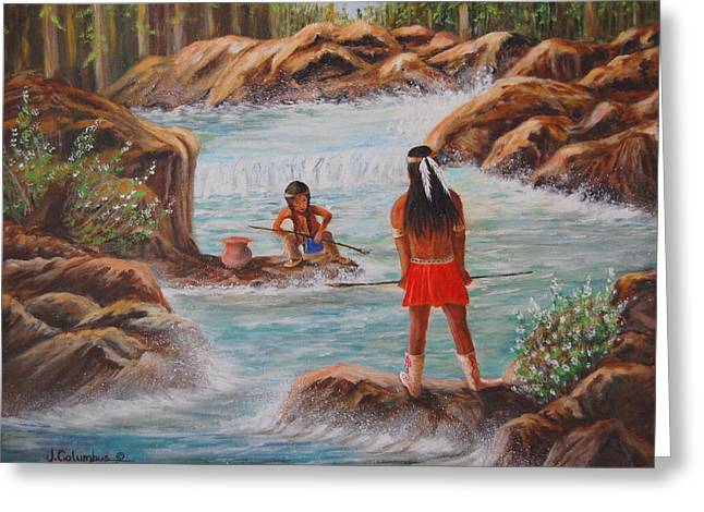 Father And Son Fishing Day Greeting Card by Janna Columbus