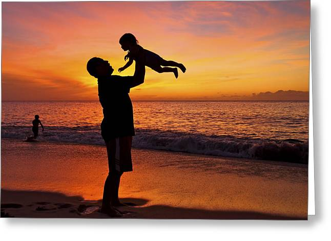 Father And Son Silhouette Greeting Card by Vince Cavataio - Printscapes