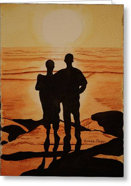 Greeting Card featuring the painting Father And Son by Teresa Beyer