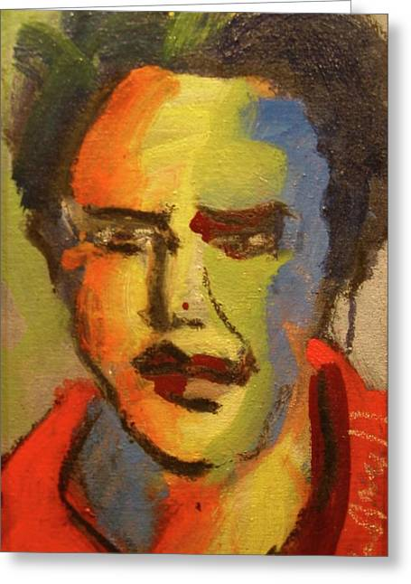 Greeting Card featuring the painting Fauvist Elvis by Les Leffingwell