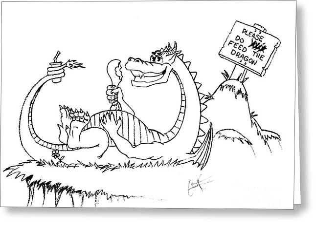Feed The Dragon Greeting Card