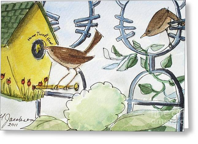 Feeding The Baby Wrens Greeting Card by Marilyn Jacobson