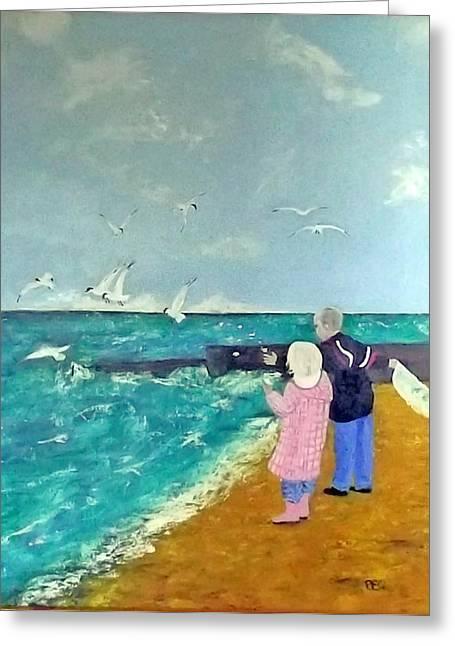 Feeding The Gulls Greeting Card by Peter Edward Green