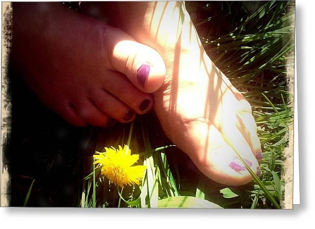 Feet In Grass - Summer Meadow Greeting Card