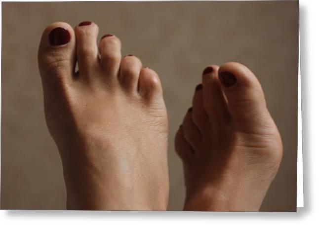 Feet Of A Happy Woman After Coupling Greeting Card by Svetlana  Sokolova