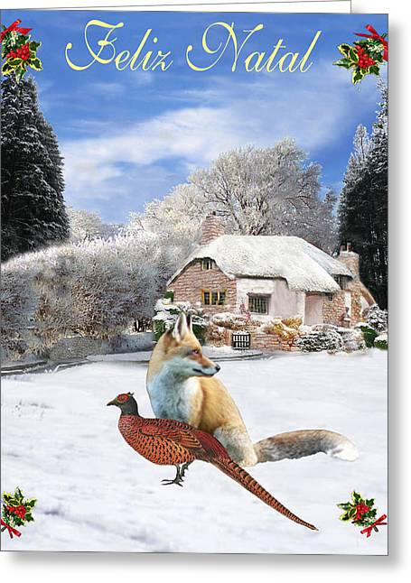 Felix Natal Portuguese Christmas Fox And Pheasant Greeting Card