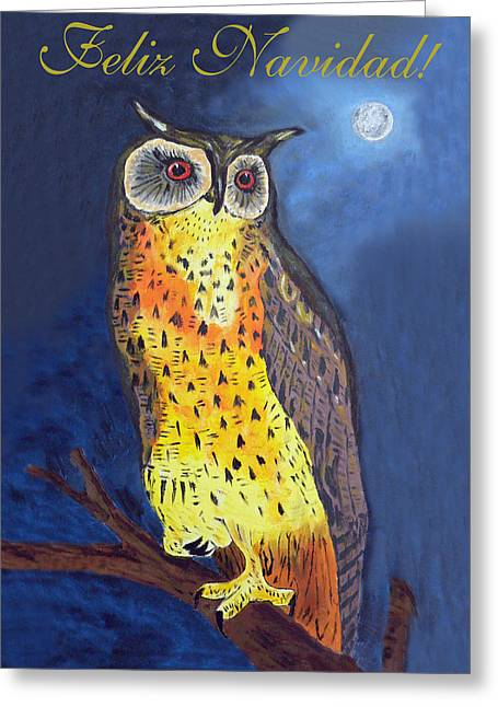 Felix Navidad Christmas Owl Eagle Owl Greeting Card