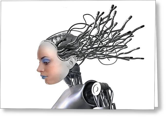 Female Cyborg, Artwork Greeting Card by Victor Habbick Visions