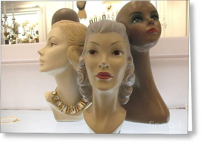 Female Mannequin Faces Art Deco Greeting Card