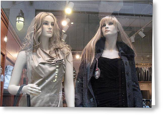 Female Mannequins High Fashion Greeting Card by Kathy Fornal